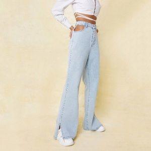 NWT Nasty Gal Cut Out Split Hem Wide Leg Jeans